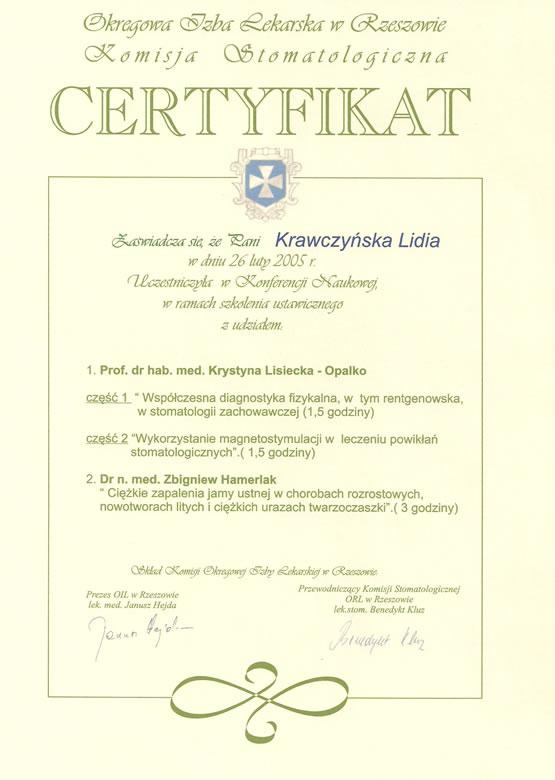 Ceryfikat lek. stom. Lidia Krawczyńska