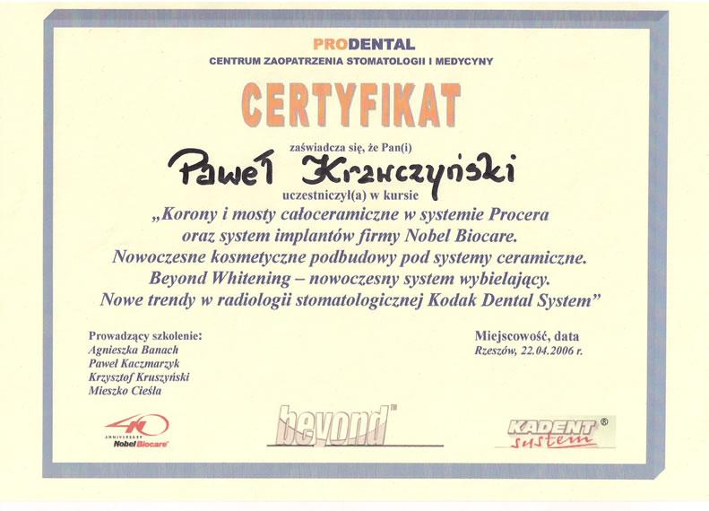 Ceryfikat lek. stom. Paweł Krawczyński